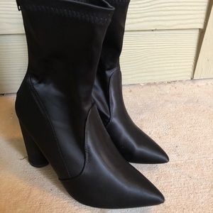 Satin pointy toe booties